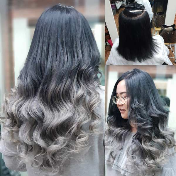 Ash Grey Keratin Hair Extensions at Senpom Salon Bangkok