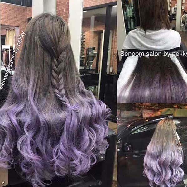Light Brown Purple Balayage on Bangkok Hair Extensions at Senpom Hair Salon