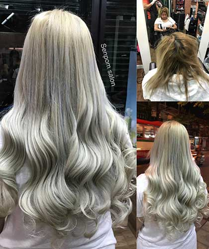 Platinum Balayage on Bangkok Hair Extensions - Senpom Hair Salon