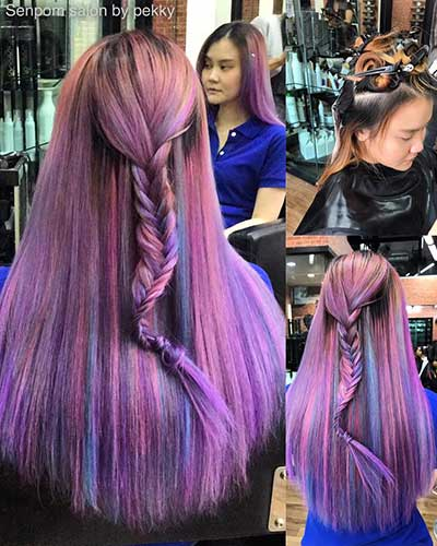 Bangkok Hair Extensions with Purple Balayage Color