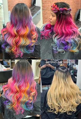 Bangkok Rainbow Color Hair Extensions - Senpom Salon